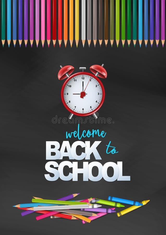 回到学校卡片的欢迎有黑白背景、明亮的coloful铅笔和红色警报黑色 库存例证