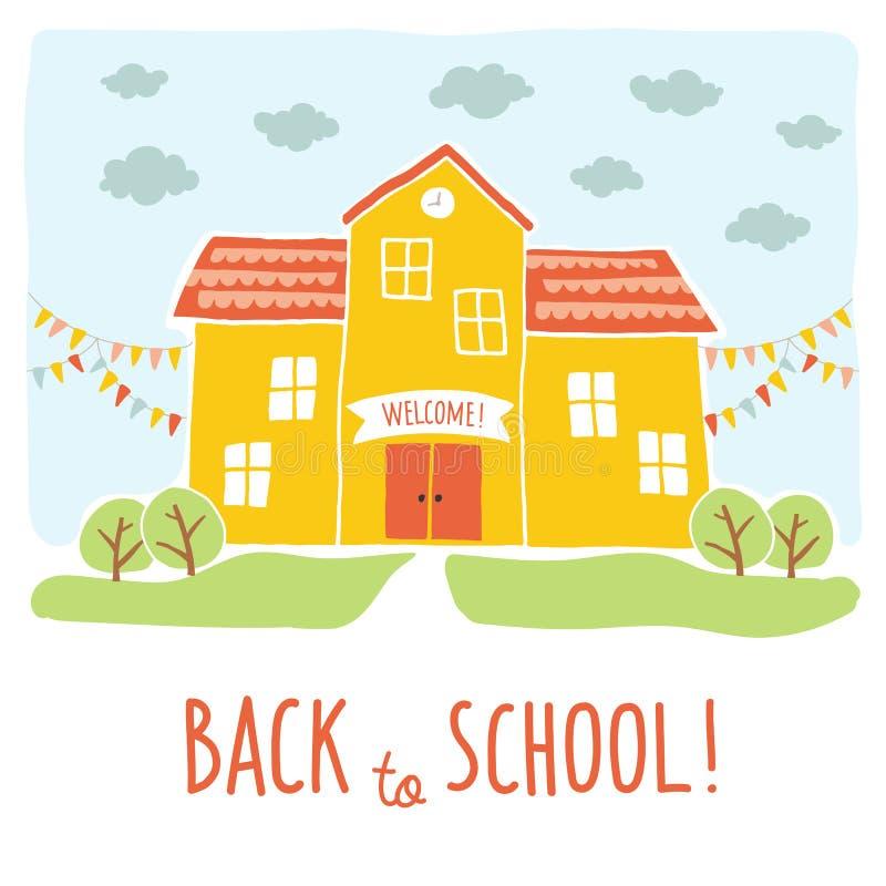 回到学校卡片设计 滑稽的在风景背景的动画片手拉的教学楼 动画片传染媒介剪贴美术 库存例证