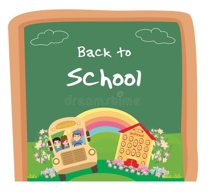 回到学校卡片,有愉快的孩子的学校班车 向量例证
