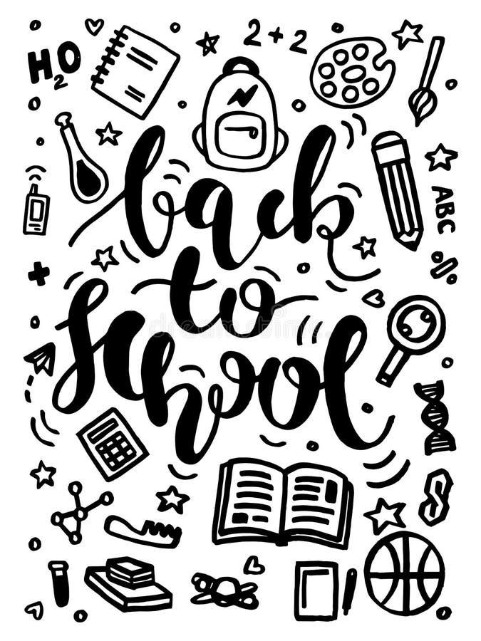 回到学校印刷术海报的传染媒介与科学标志和标志 黑白回到学校书法字法 库存例证