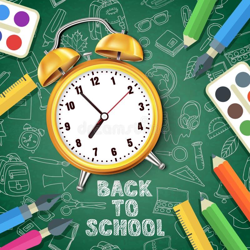 回到学校向量例证 在绿色背景的现实3d黄色闹钟与乱画学校用品 皇族释放例证