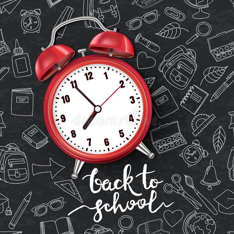 回到学校向量例证 在黑委员会背景的现实3d红色闹钟与乱画学校用品 向量例证
