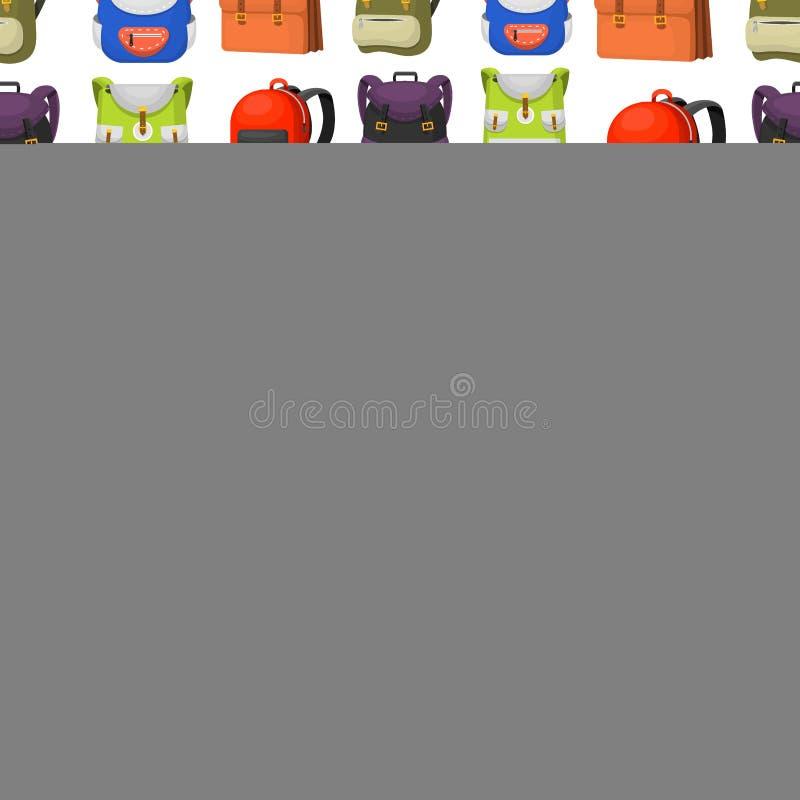 回到学校哄骗背包传染媒介例证工作时间教育学会行李无缝的样式的行李背包 向量例证