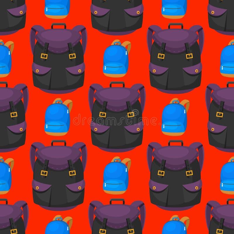 回到学校哄骗背包传染媒介例证工作时间教育学会行李无缝的样式的行李背包 皇族释放例证
