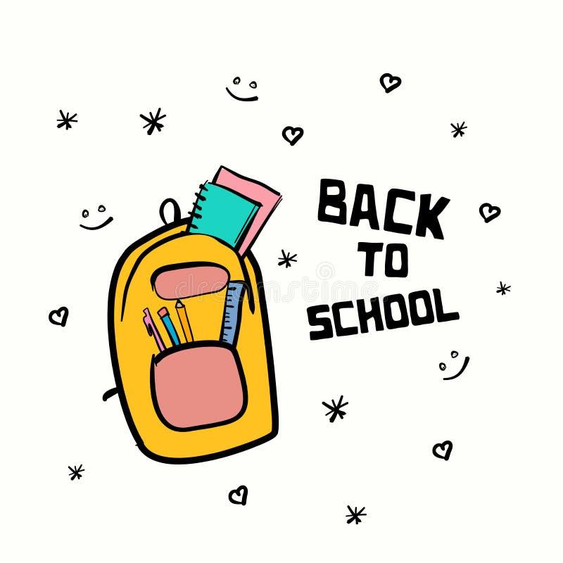 回到学校图画横幅与逗人喜爱的手拉的乱画样式装饰的标签设计 向量例证
