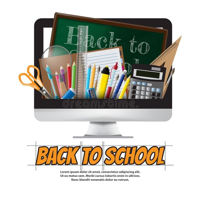 回到学校学校用品、文具和计算机,传染媒介 向量例证