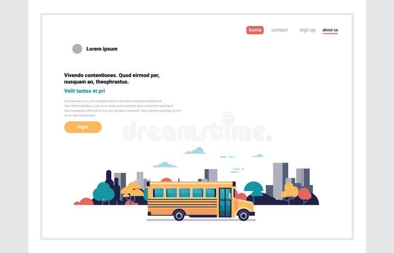 回到学校学生的黄色公共汽车运输水平概念都市风景背景平的设计拷贝的空间 库存例证