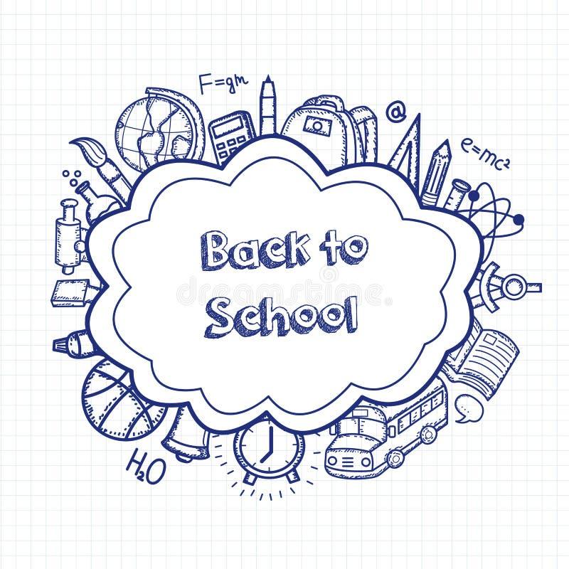 回到学校手拉的乱画背景 登记概念教育查出的老 手拉的学校用品 向量 库存例证