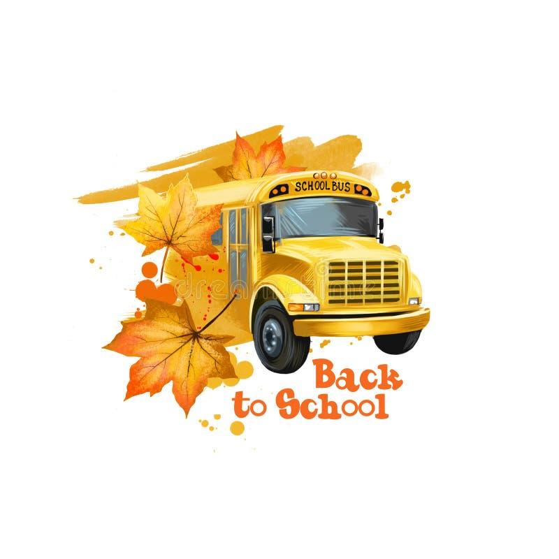 回到学校数字艺术例证 学习年起点  有黄色的手拉的美国黄色学校班车车 皇族释放例证