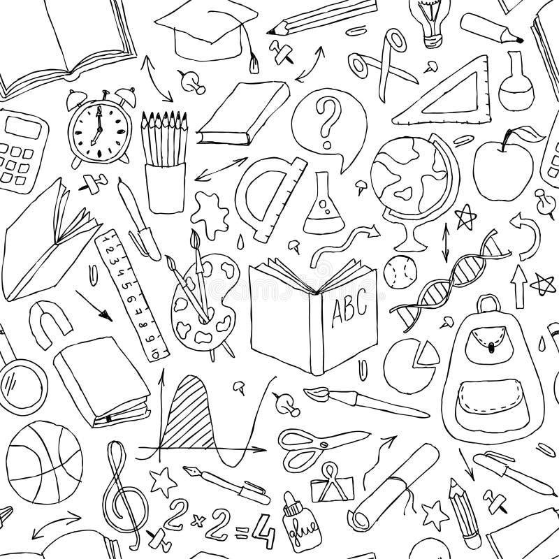 回到学校无缝的传染媒介样式 好为织物设计、包装纸和网站墙纸 库存例证