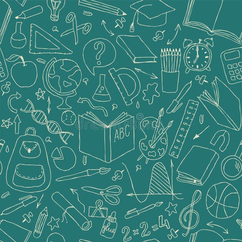 回到学校无缝的传染媒介样式 好为织物设计、包装纸和网站墙纸 向量例证