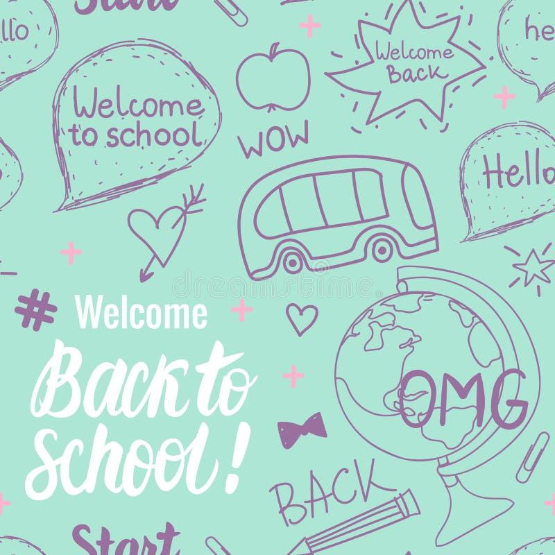 回到学校无缝的样式的欢迎 导航在现代颜色的儿童` s手拉的例证 向量例证