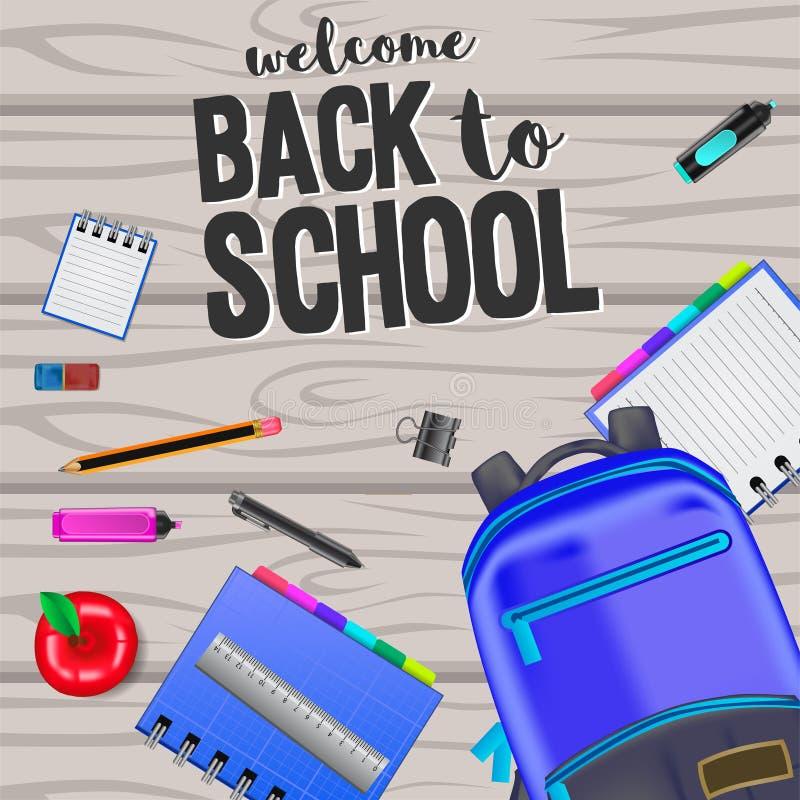 回到学校有固定式的和袋子的欢迎在木背景 库存例证