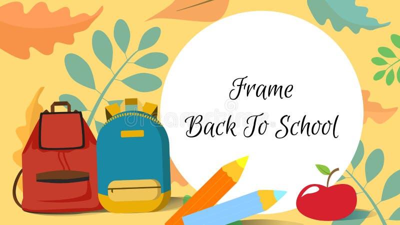 回到学校框架或横幅或者屏幕有背包的,叶子,铅笔,苹果 办公室和背包的促进销售t的 库存例证
