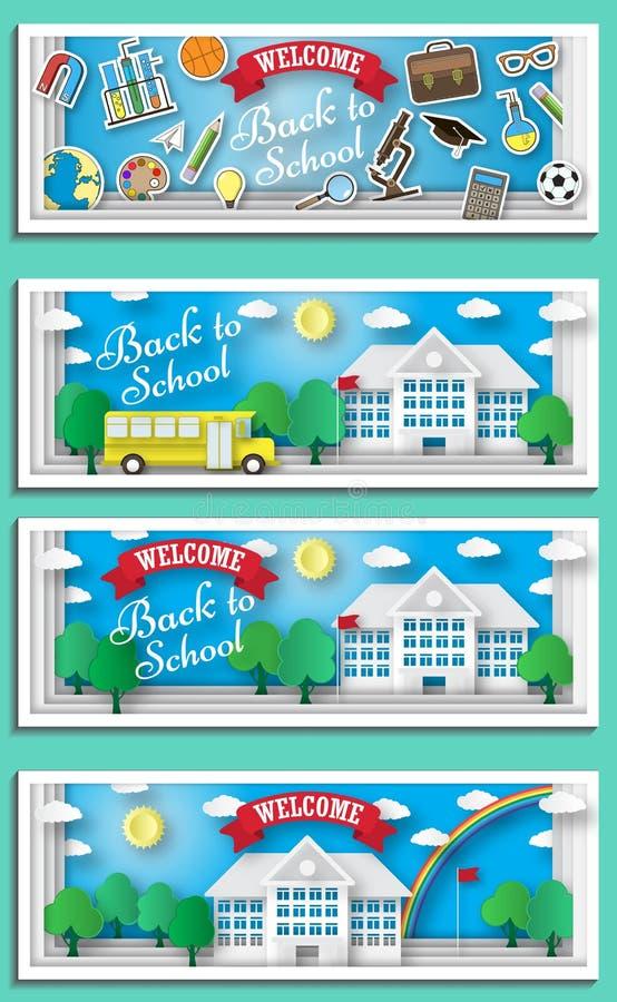 回到学校概念传染媒介海报 有大厦的在背景的校车和黑板 高的城市主要和 库存例证