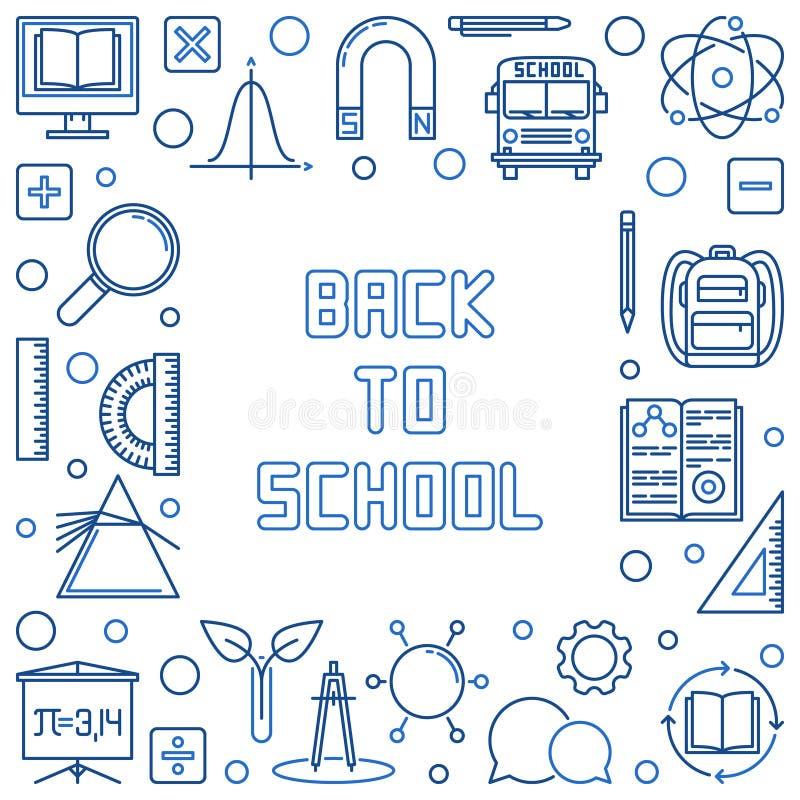 回到学校概念概述蓝色框架 r 皇族释放例证