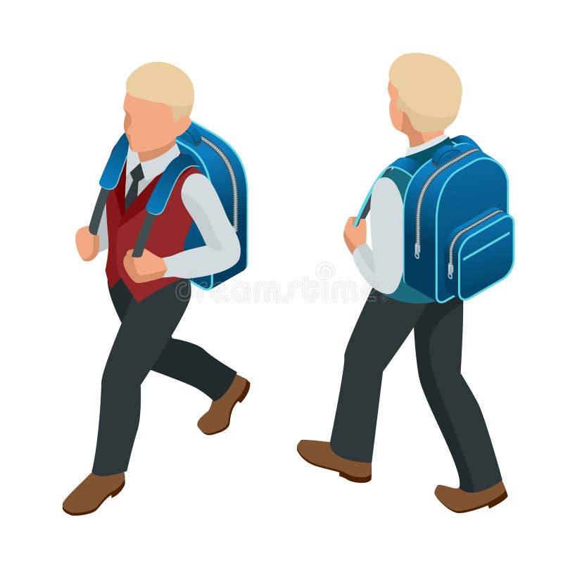 回到学校概念的等量男孩 向量例证