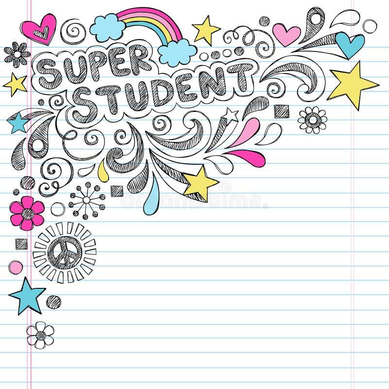 回到学校概略乱画Vecto的超级学生 向量例证