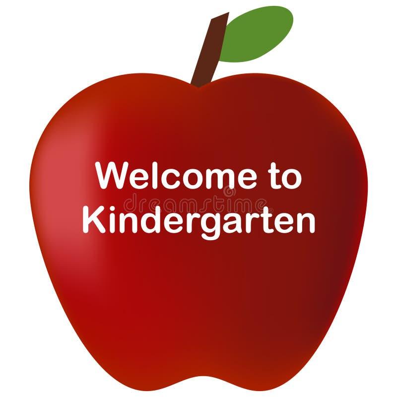 回到学校欢迎到幼儿园红色苹果 向量例证