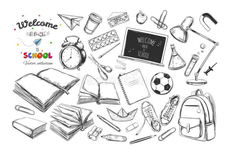 回到学校汇集的欢迎 传染媒介手拉的元素 接近的指南针分度器学校用品 书,笔记本,习字簿,背包,灯,警报c 皇族释放例证