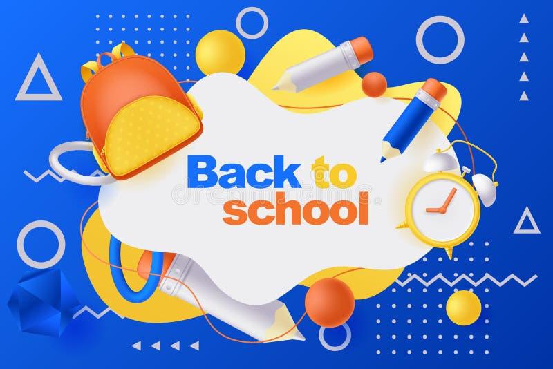 回到学校海报或横幅 背包、铅笔和闹钟的传染媒介3d例证 教育蓝色背景 皇族释放例证