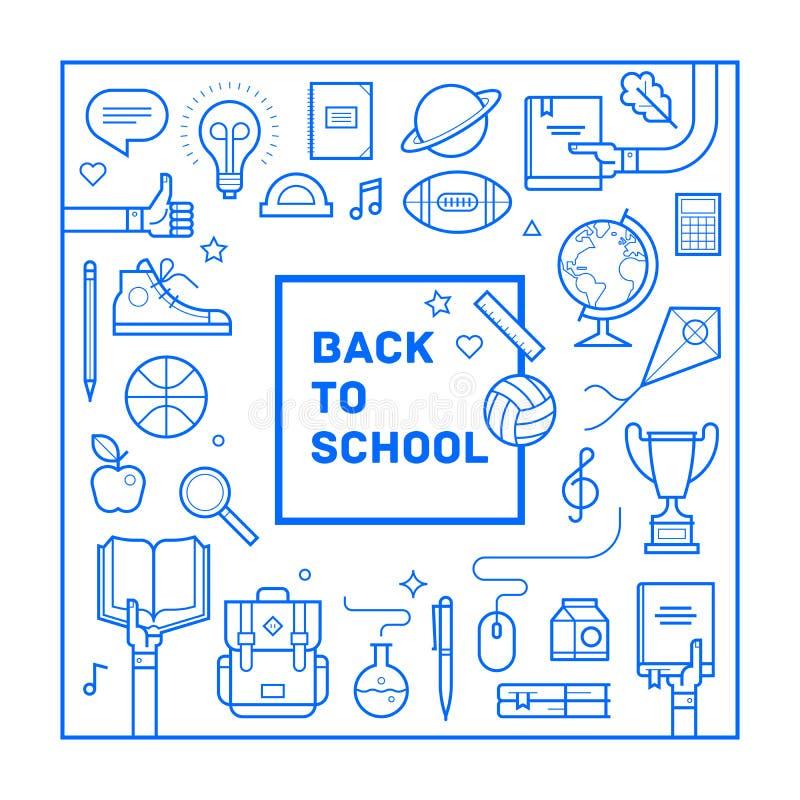 回到学校海报或邀请在时髦线性样式设计 套不同的学校用品 也corel凹道例证向量 皇族释放例证