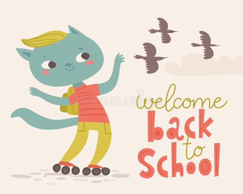 回到学校海报的欢迎与动画片动物 滑冰到学校的猫 库存例证