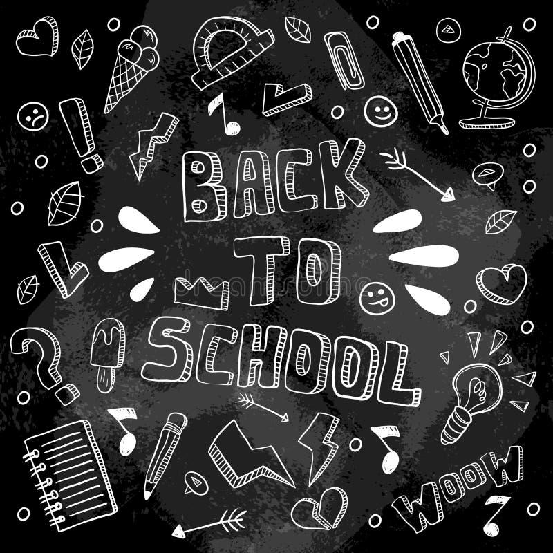 回到学校滑稽的传染媒介例证 黑白学校用品和创造性的元素 乱画样式艺术品 Ea 向量例证