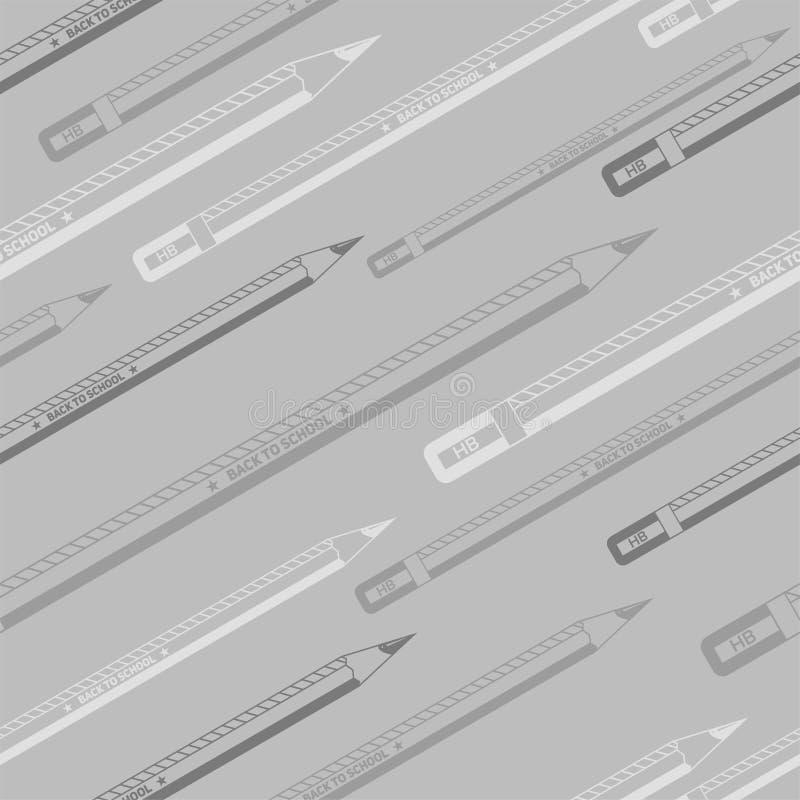 回到学校灰色极谱无缝的铅笔样式 向量例证