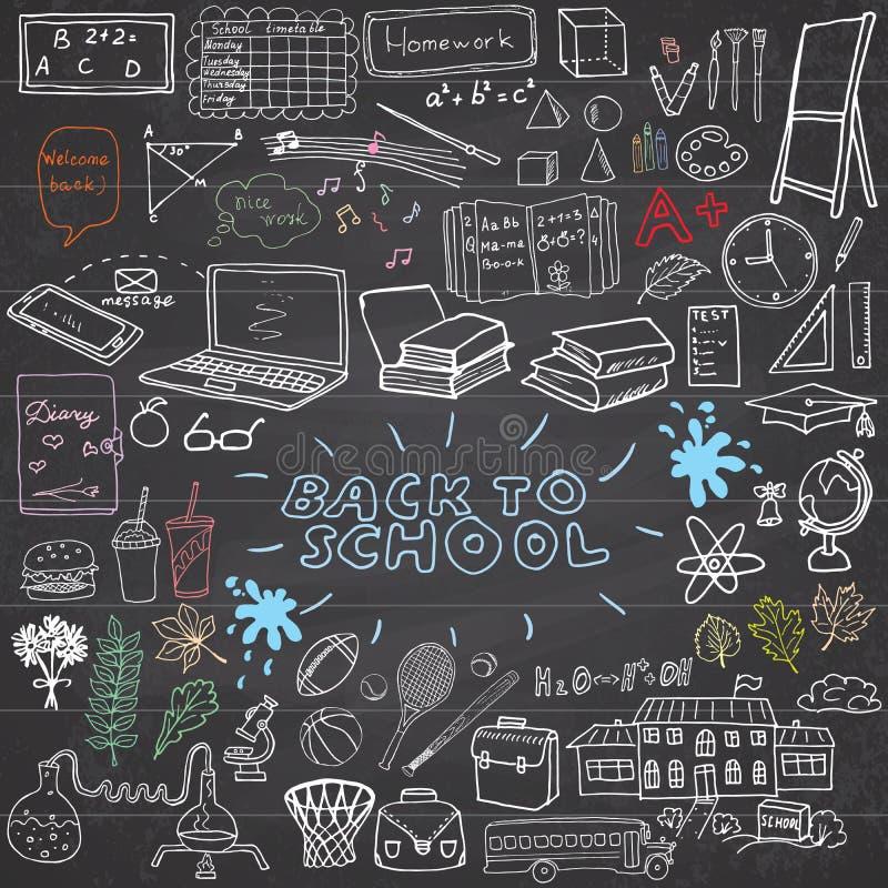 回到学校用品概略笔记本乱画设置与字法,在被排行的Sketc的手拉的传染媒介例证设计元素 皇族释放例证