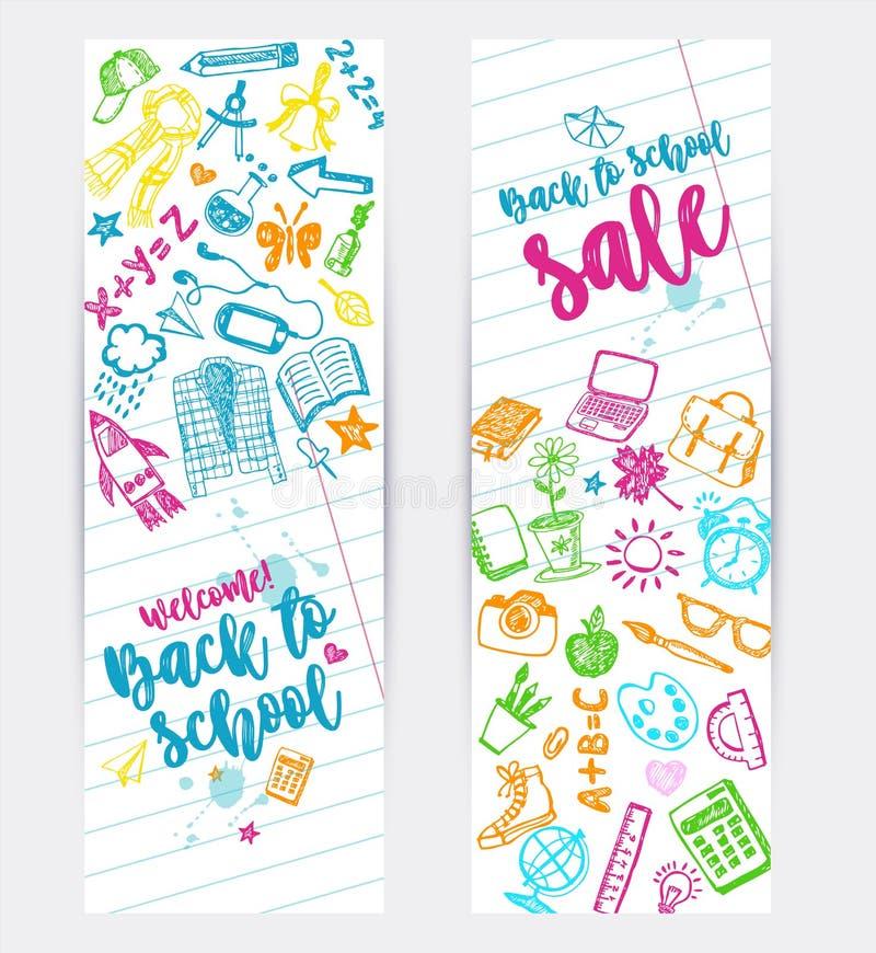 回到学校电视节目预告横幅设计 传染媒介背景颜色蜡笔和铅笔 与学校的手拉的乱画剪影 皇族释放例证