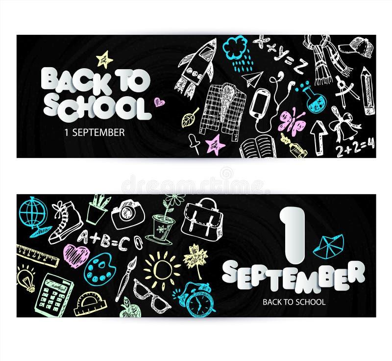 回到学校电视节目预告横幅设计 传染媒介黑色黑板背景颜色蜡笔和铅笔 手拉的乱画 库存例证