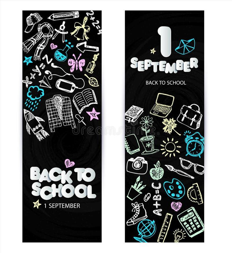 回到学校电视节目预告横幅设计 传染媒介黑色黑板背景颜色蜡笔和铅笔 手拉的乱画 皇族释放例证