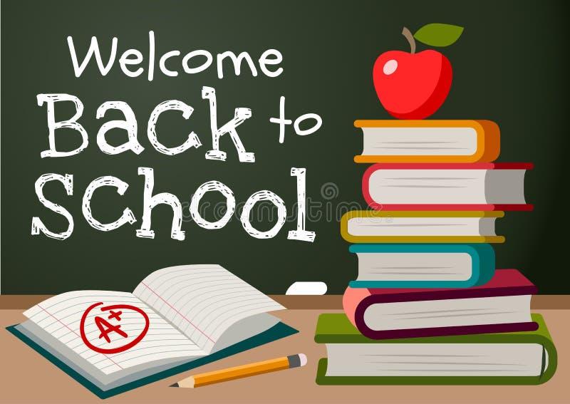 回到学校白垩文本的欢迎在黑板,堆书, 皇族释放例证
