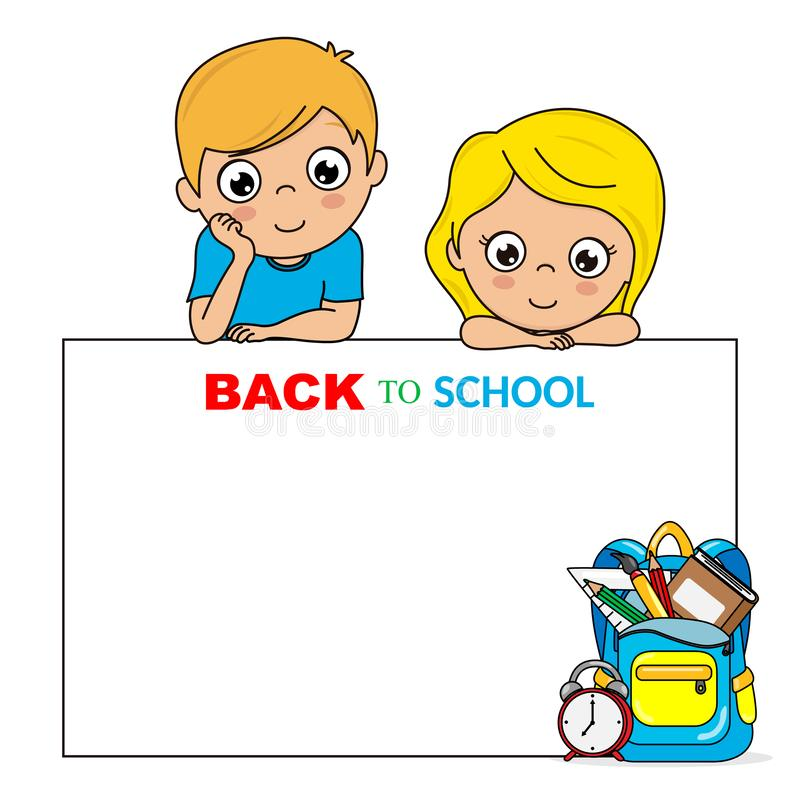 回到学校的卡片 有海报的孩子 库存例证