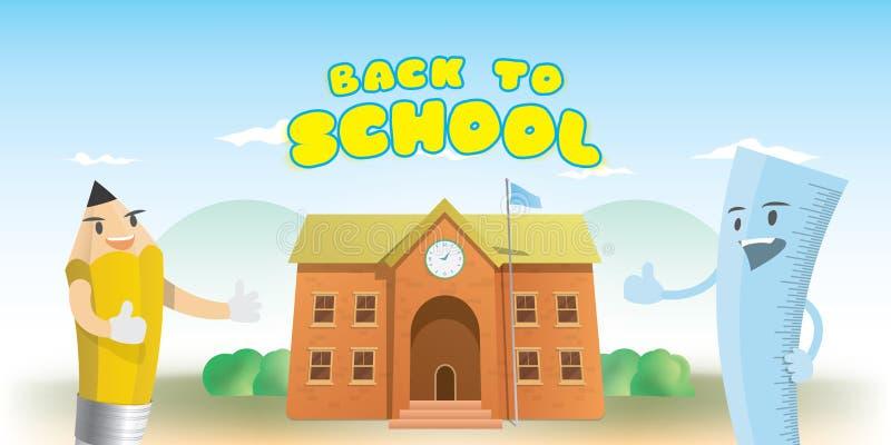 回到学校的标题和字符铅笔动画片的设计  向量例证
