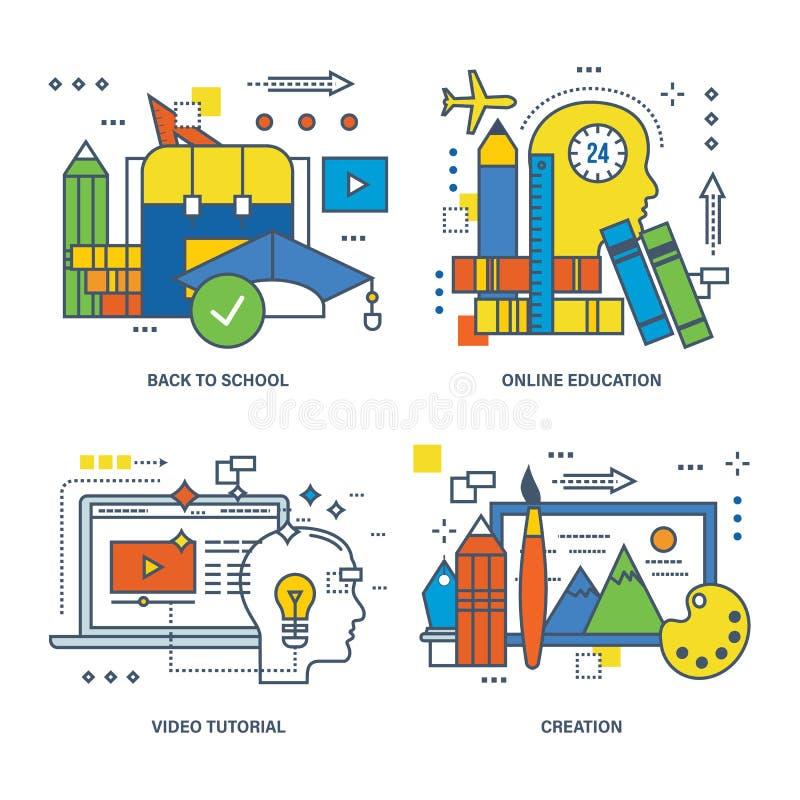 回到学校的概念,网上教育,录影讲解,创作 库存例证