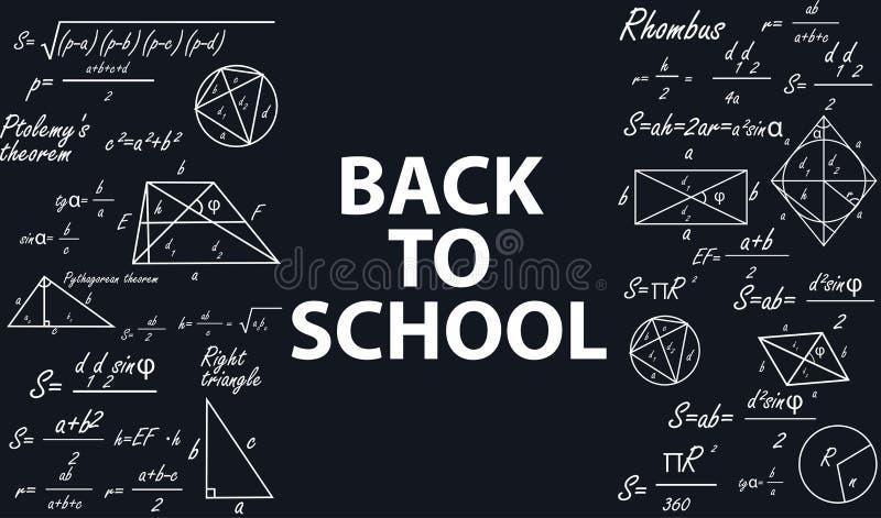 回到学校的横幅有在黑板的几何图的 库存例证