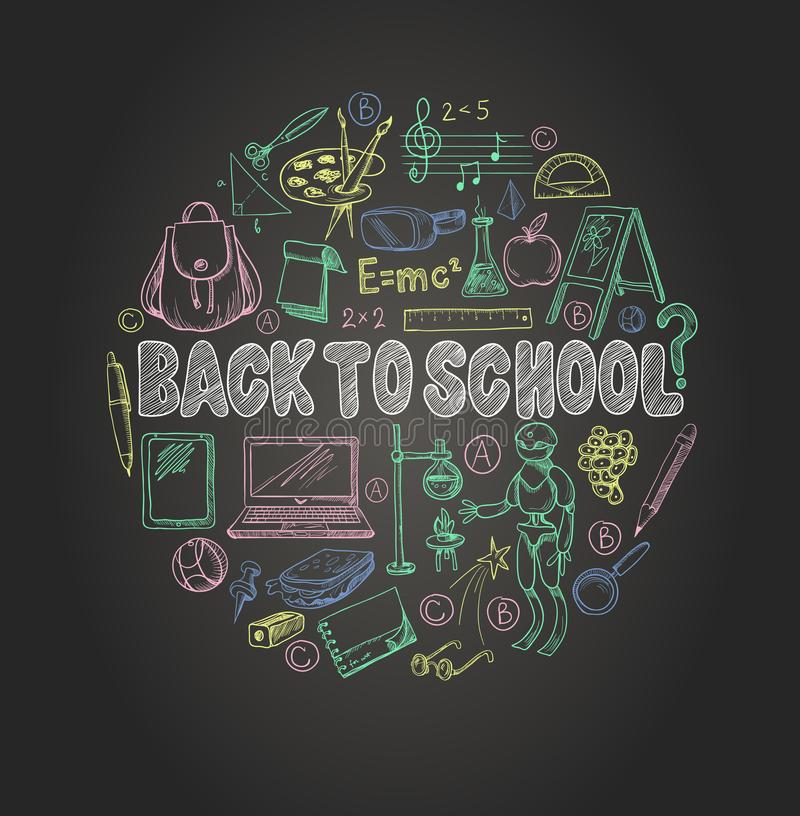 回到学校的横幅有学校用品的,例如背包、书、膝上型计算机,地球和其他,在黑板的被画的白垩 皇族释放例证
