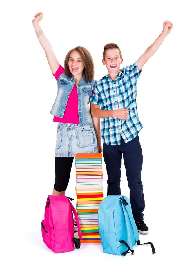 回到学校的激动的孩子 免版税库存图片