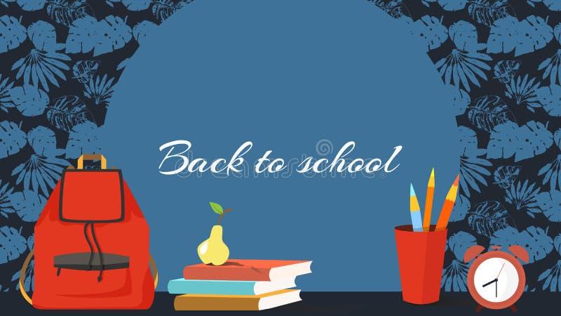 回到学校的热带模板-框架或横幅或者屏幕,有一个红色背包的,铅笔,课本,闹钟,梨 库存例证