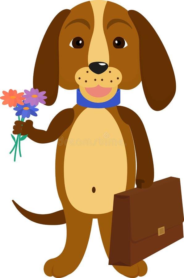 回到学校的狗 动画片小狗的例证 皇族释放例证