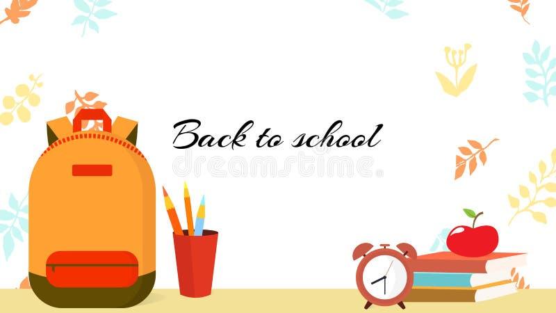 回到学校的秋天ltemplate -框架或横幅或者屏幕,有背包的,课本,闹钟,在玻璃书写 向量例证