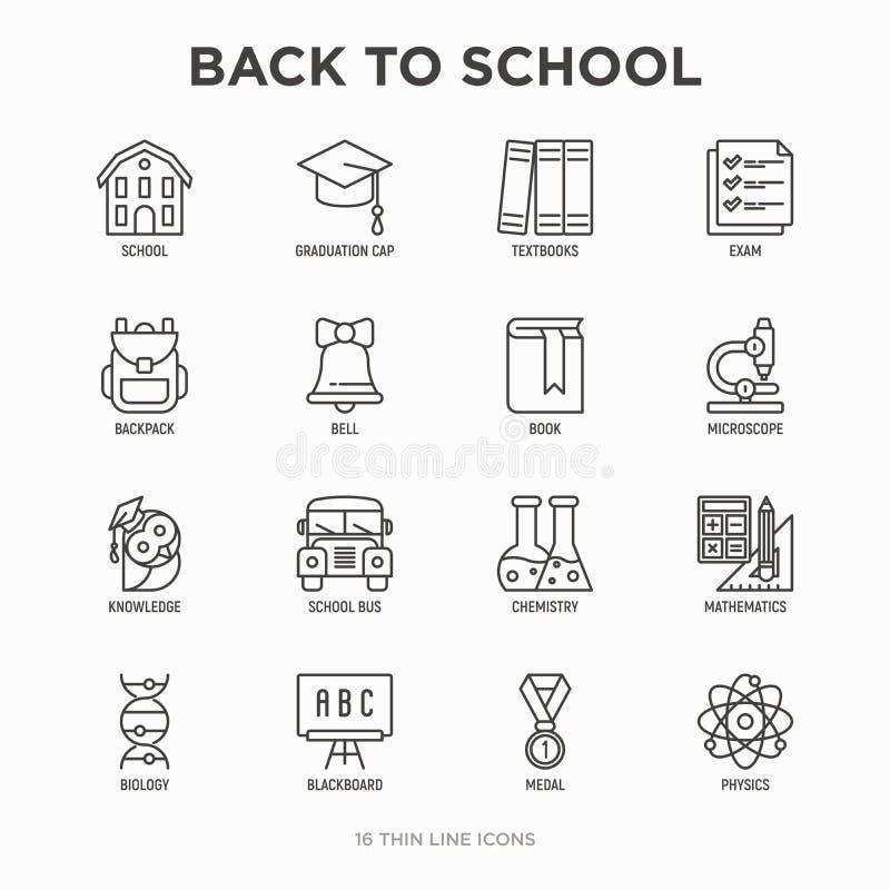 回到学校稀薄的线象集合:背包,响铃,书,显微镜,知识,猫头鹰,毕业盖帽,公共汽车,化学,数学 皇族释放例证