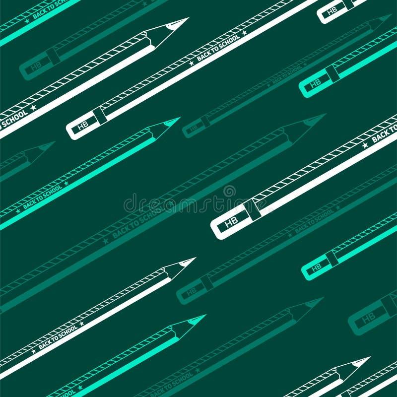 回到学校绿色无缝的铅笔样式 向量例证