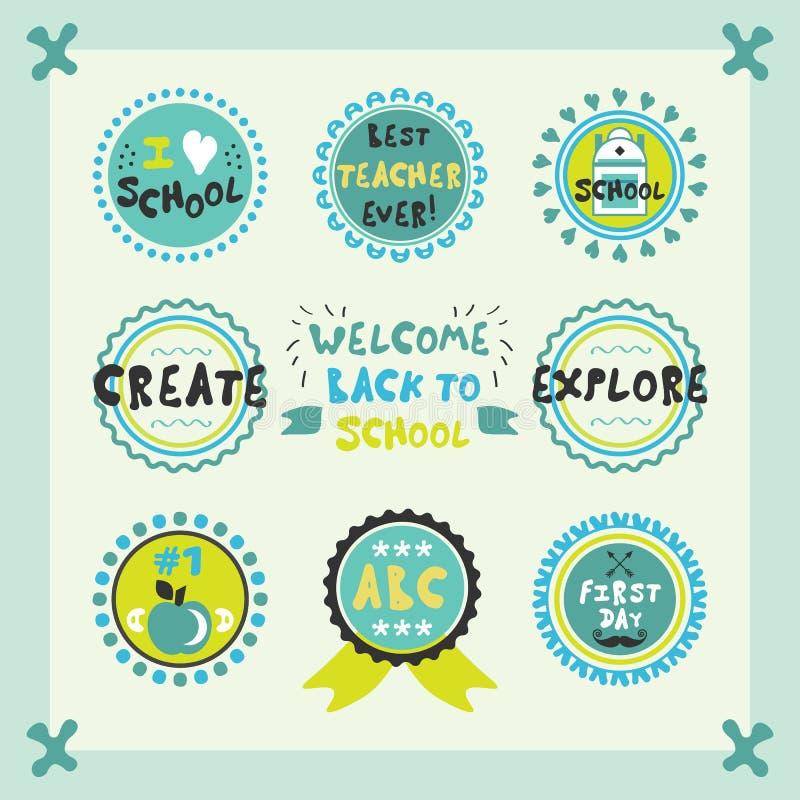 回到学校蓝色逗人喜爱的圈子象征和标号组的欢迎 库存例证