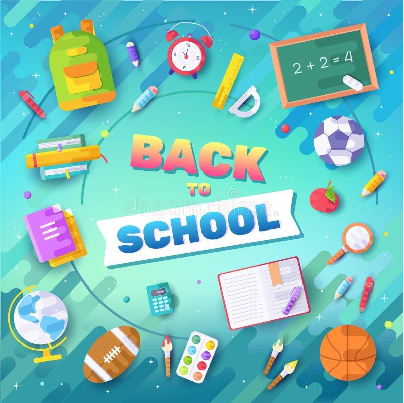 回到学校被设置的信息卡 学生模板flyear,杂志,海报,书套,横幅 学院 皇族释放例证