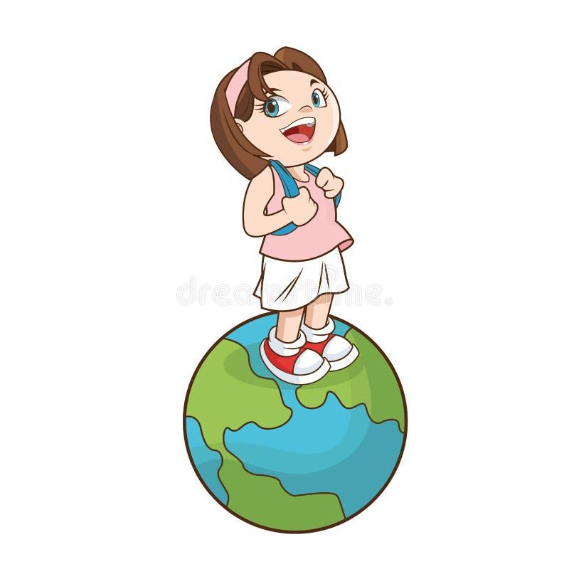 回到学校设计女孩动画片  向量例证