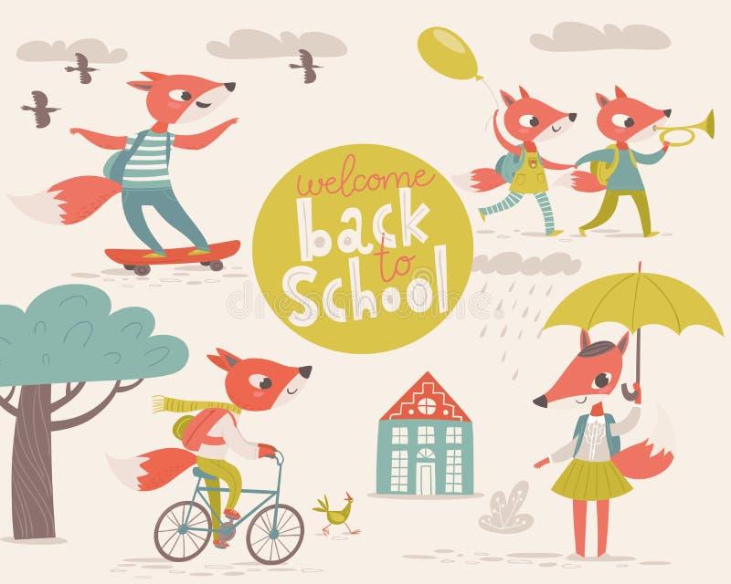 回到学校设计的大传染媒介欢迎与动画片动物 皇族释放例证