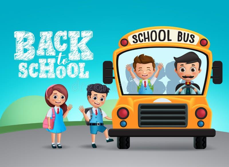回到学校课文和学校班车有穿制服的愉快的孩子或学生的 向量例证